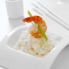 "Shrimp Risotto: Cream Risotto with Lemon Grass Poached Shrimp. Picture featured in Brides magazine's ""White Wedding"" issue."